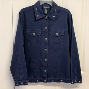 Denim & Company Jacket Size S Embroidered flowers
